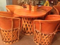 Vintage Mexican Equipale leather and wood dining table and ...