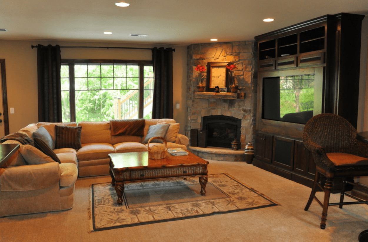 Family Room With Corner Fireplace