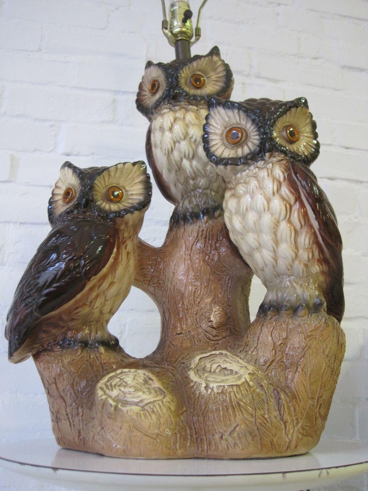 HUGE vtg TRIPLE OWL pottery table lamp mid century modern