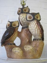 HUGE vtg TRIPLE OWL pottery table lamp mid century modern