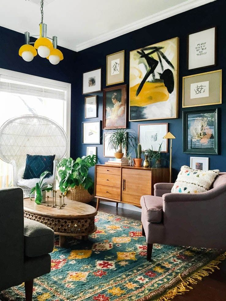 Moody blue rooms the new living room top trends also wall galleries everything and rh pinterest