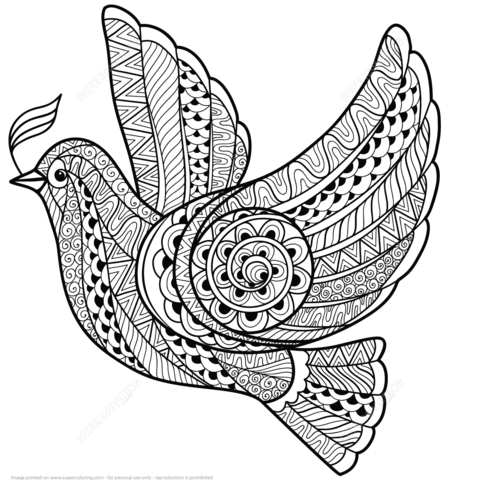 Zentangle Dove of Peace coloring page from Zentangle