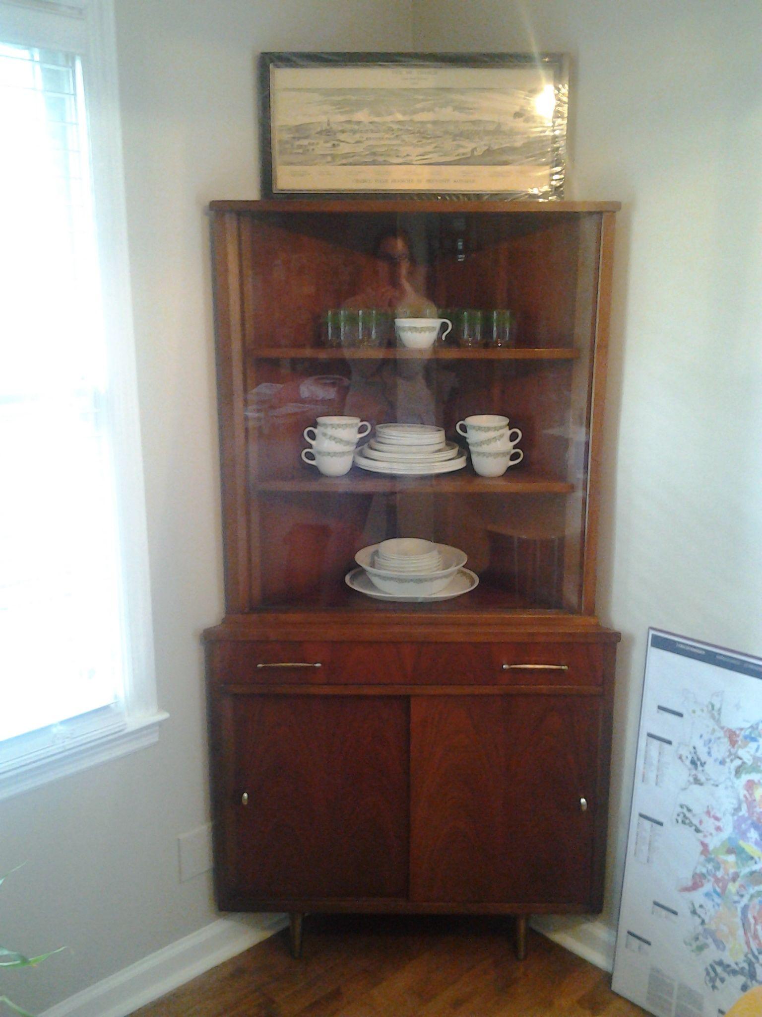 midcentury modern danish corner cabinet  KitchenDining
