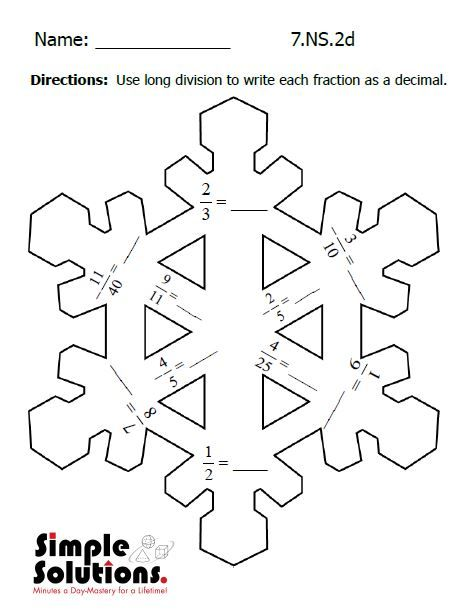 Seventh Grade math worksheet. Free download. #math #snow #