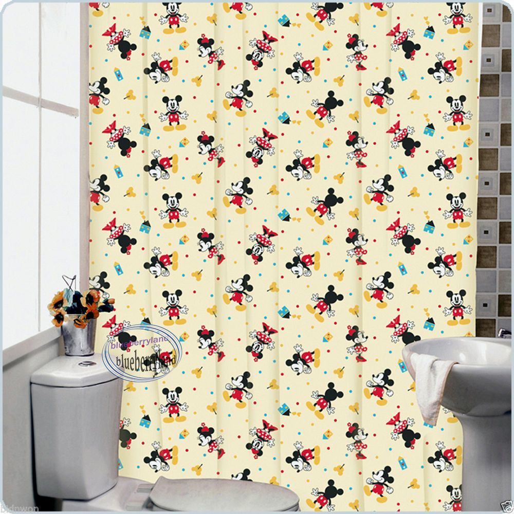 Disney MICKEY MOUSE Bath Shower Curtain with rings bathroom accessories home Y12  Disney mickey