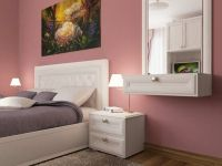 Dusky pink headboard white wall paint colours walls | Dorm ...