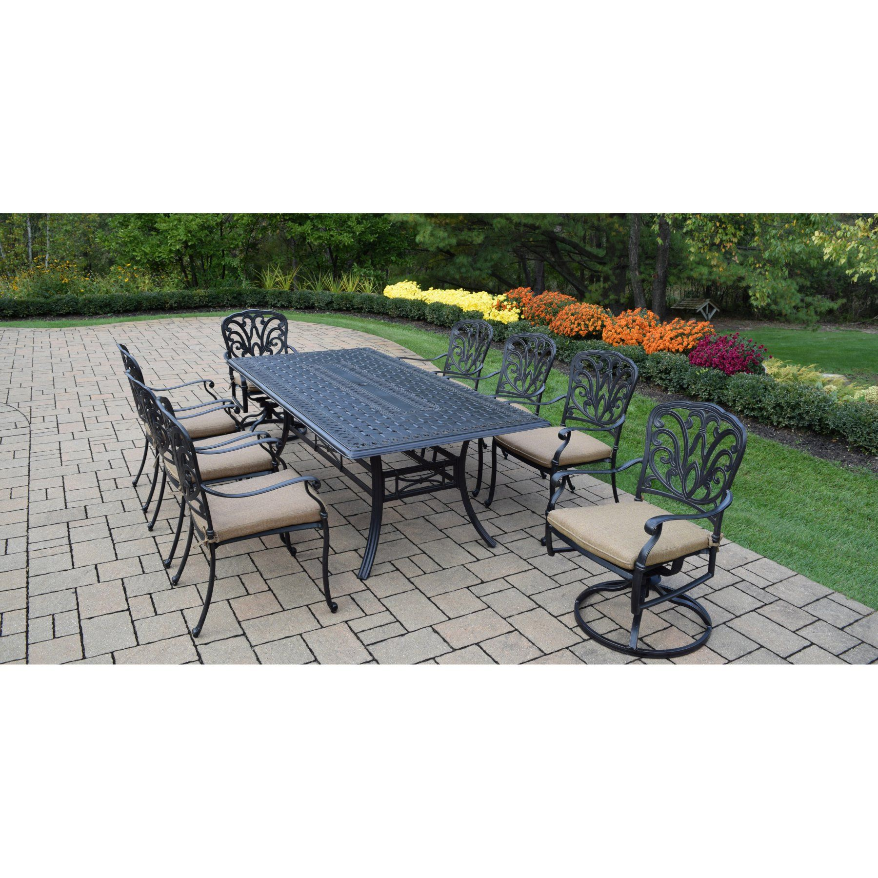 ab swivel chair george jones rocking outdoor oakland living hampton 9 piece rectangular patio dining set with stackable and chairs