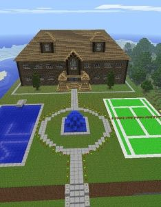 Minecraft mansion with swimming pool mc written in glowstone and tennis court also buildings google search pinterest rh