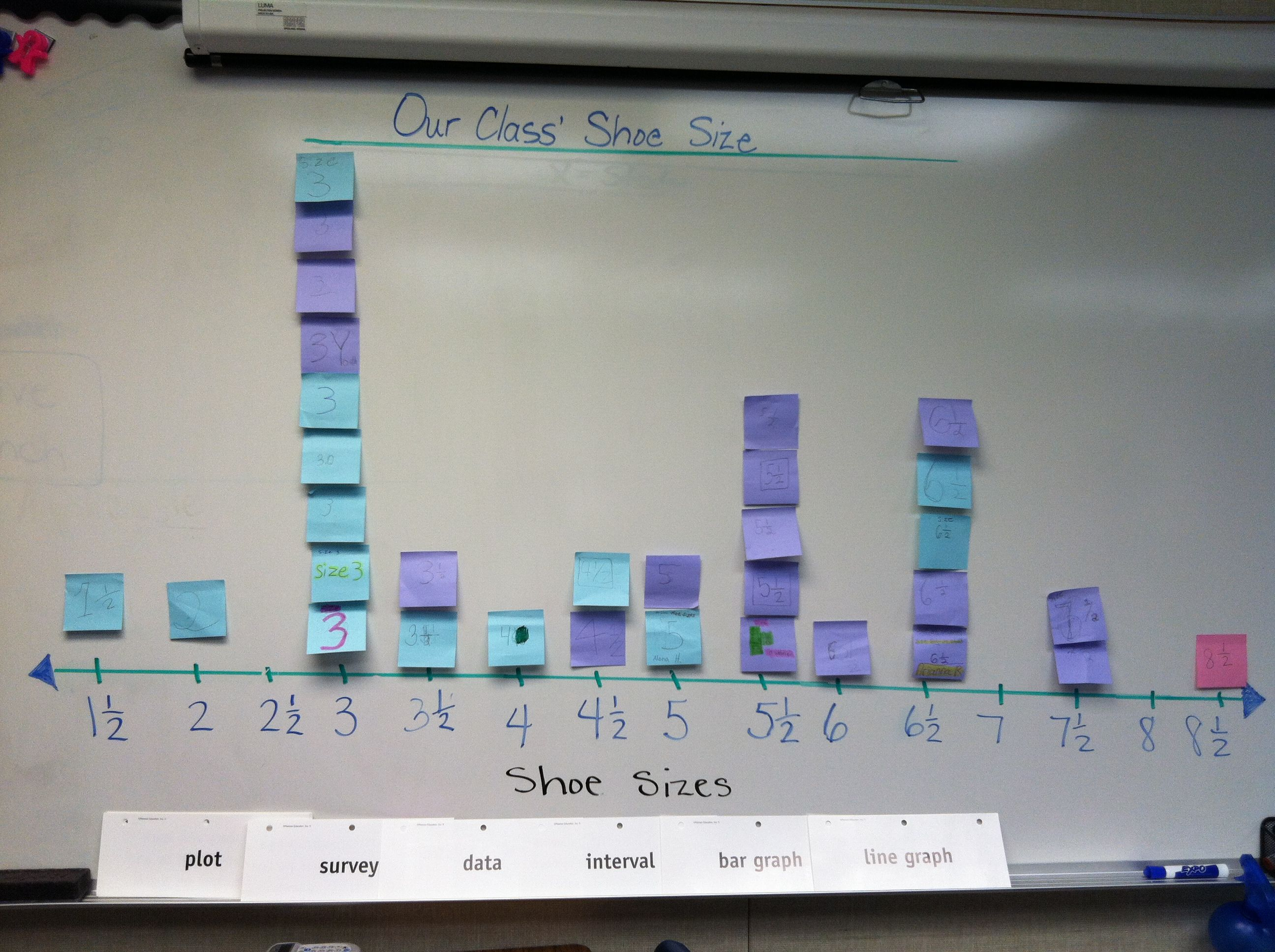 My Class Shoe Size On A Line Plot 4th Grade Common Core