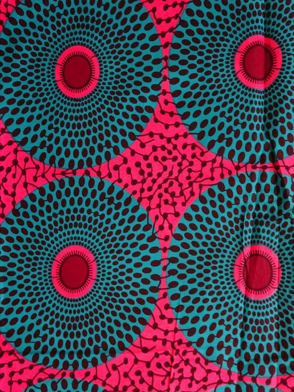 Pink and Green African Print Fabric