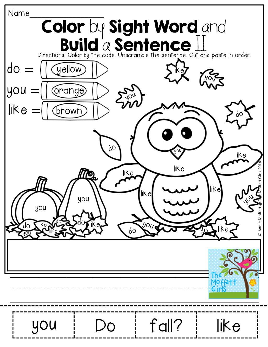 Color By Sight Words And Unscramble A Simple Sentence