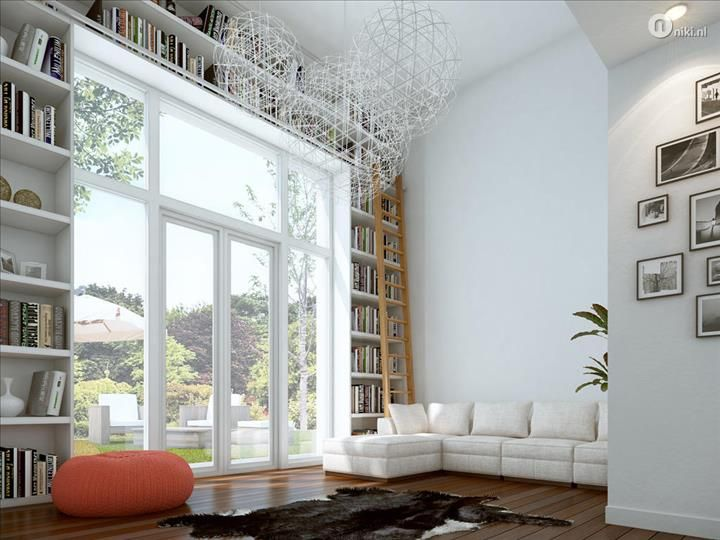 boekenkast  openslaande deuren woonkamer  Inspiration