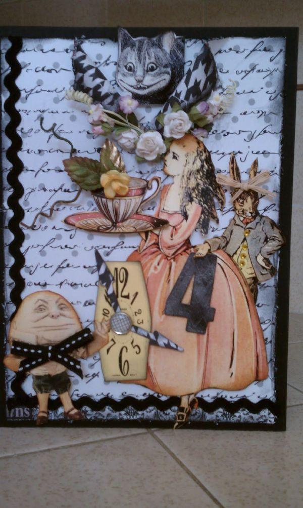 "Card - ""time 4 Tea"" Alice In Wonderland Altered Teas Mixed Media"