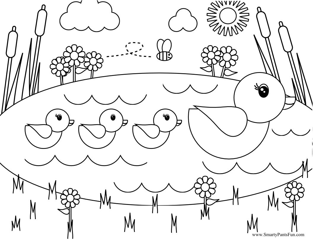 Swimming Baby Duckling Coloring Pages