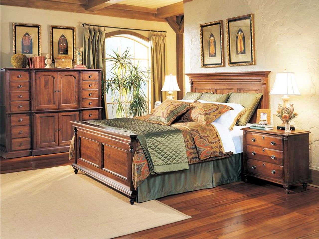 durham furniture savile row 4-piece panel bedroom set in victorian