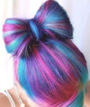 pink blue streak dyed hair color
