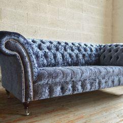 Grey Crushed Velvet Chair Covers Wedding Yorkshire Modern British Handmade Harlow Deep Buttoned Chesterfield