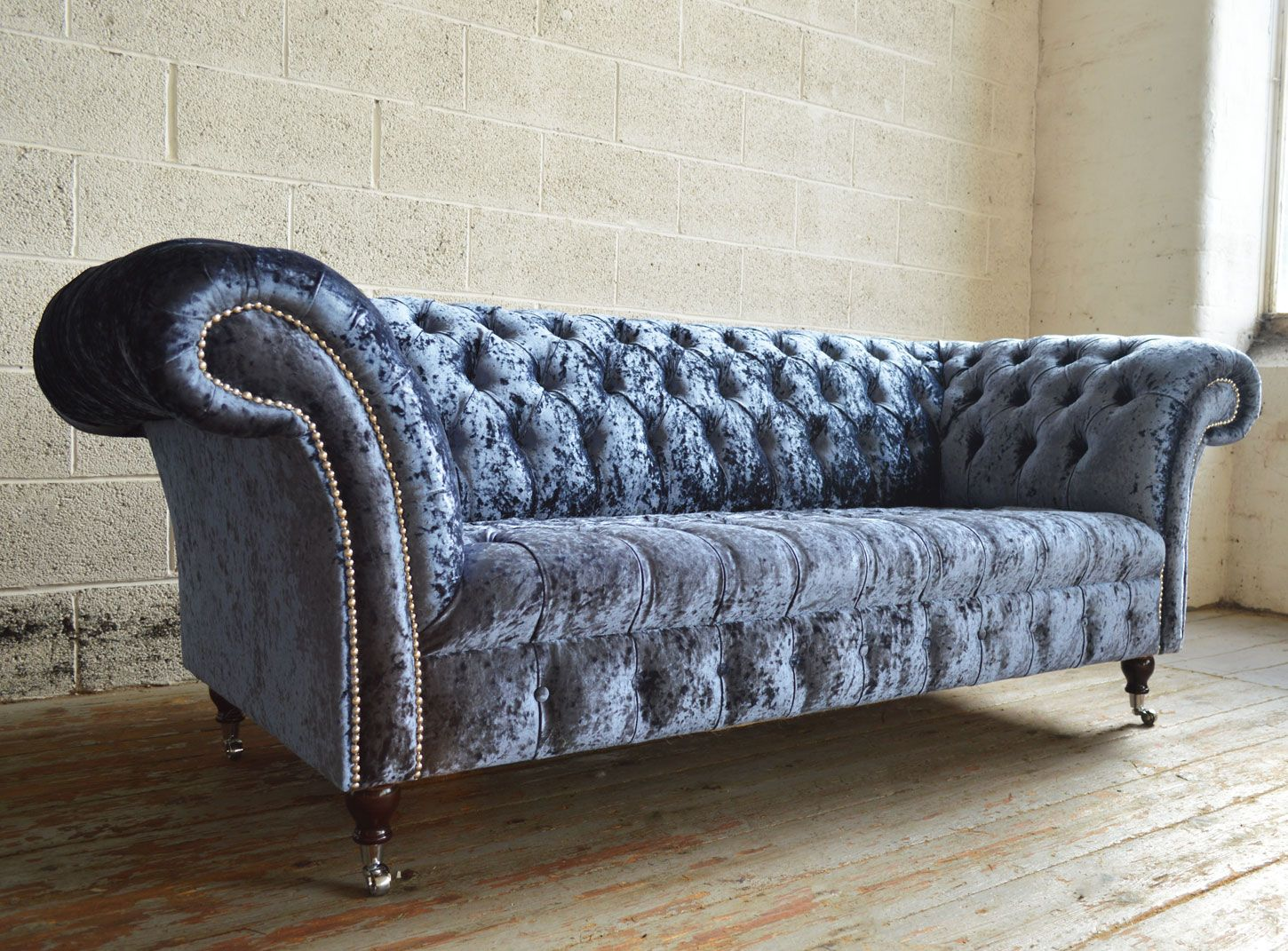 crushed velvet sofa fabric leather recliner set india modern british handmade harlow deep buttoned chesterfield