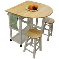 White pine wood breakfast bar folding kitchen table and ...
