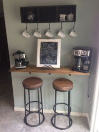 DIY coffee bar: 1x12 lumber stained to match kitchen ...