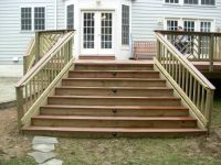 Deck Steps with Landing | These deck stairs have lights in ...