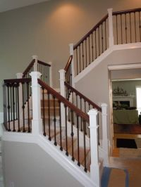 Hand railing, Rod Iron balusters and oak hand rail