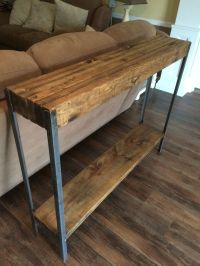 Rustic metal leg sofa table | Wayne Williams Wood Works ...