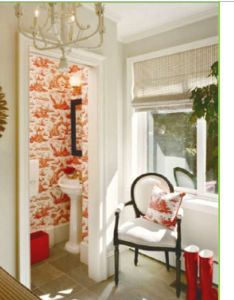 Toile wallpaper in  powder room from live breathe decor also pin by isabelle graham on for the home pinterest rh