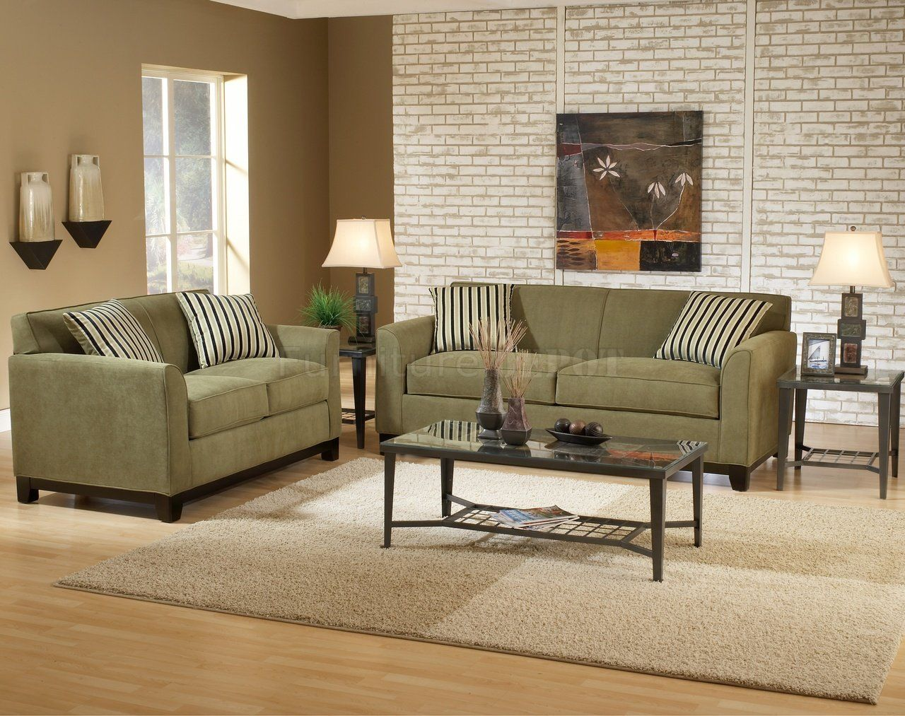 mixing leather and fabric furniture in living room light blue wallpaper wall color for sage green couch | casual ...
