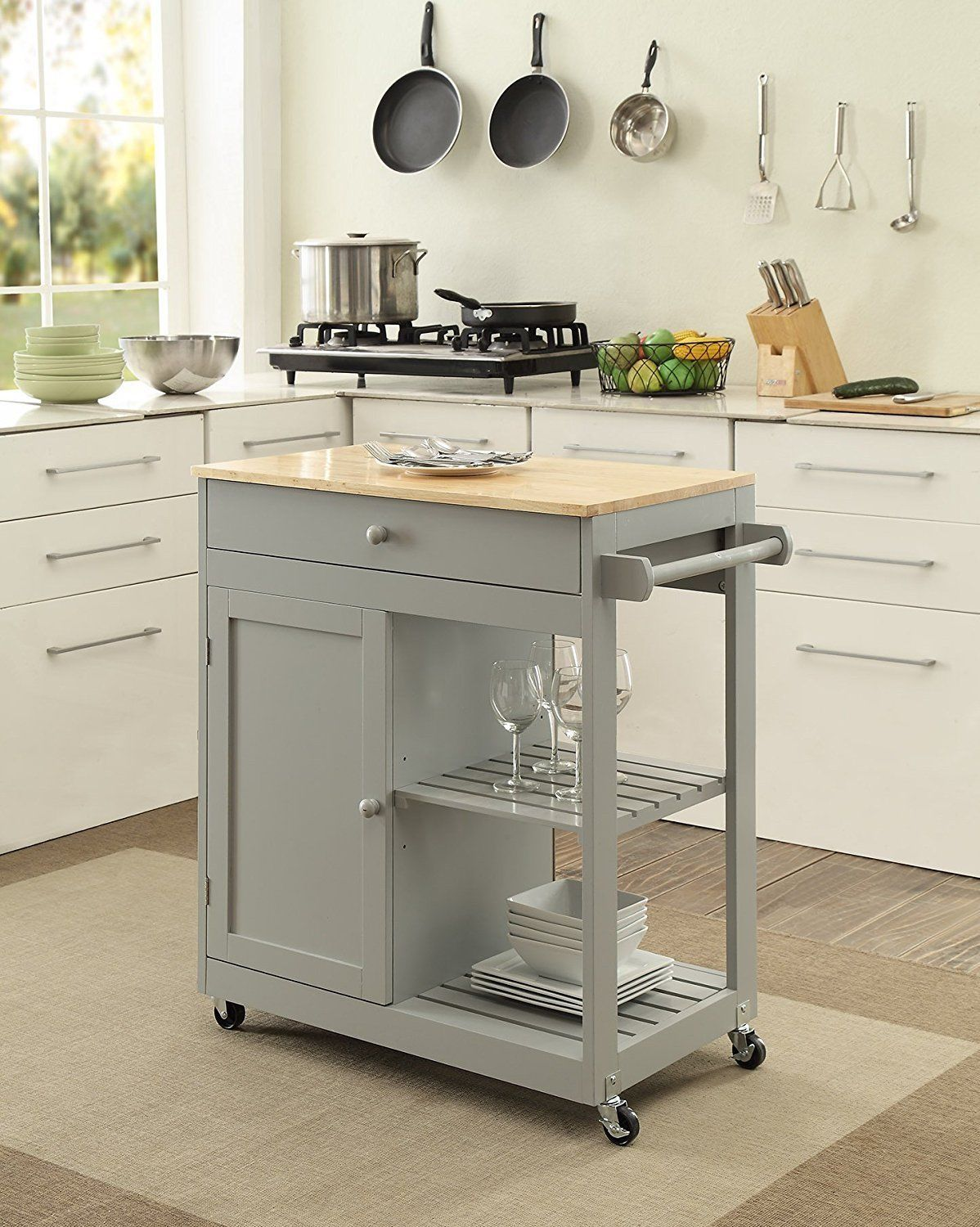 KITCHEN ISLAND On Wheels Mobile Dining Room Storage Butcher Block