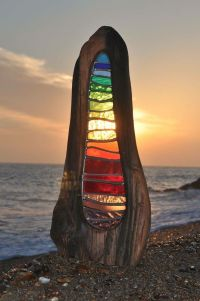 Stained Glass set in wood on beach | Stained Glass Art ...