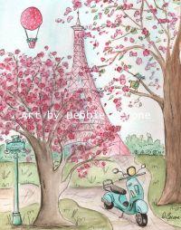 Pink Paris Eiffel Tower Wall Art, Paris Decor, French ...