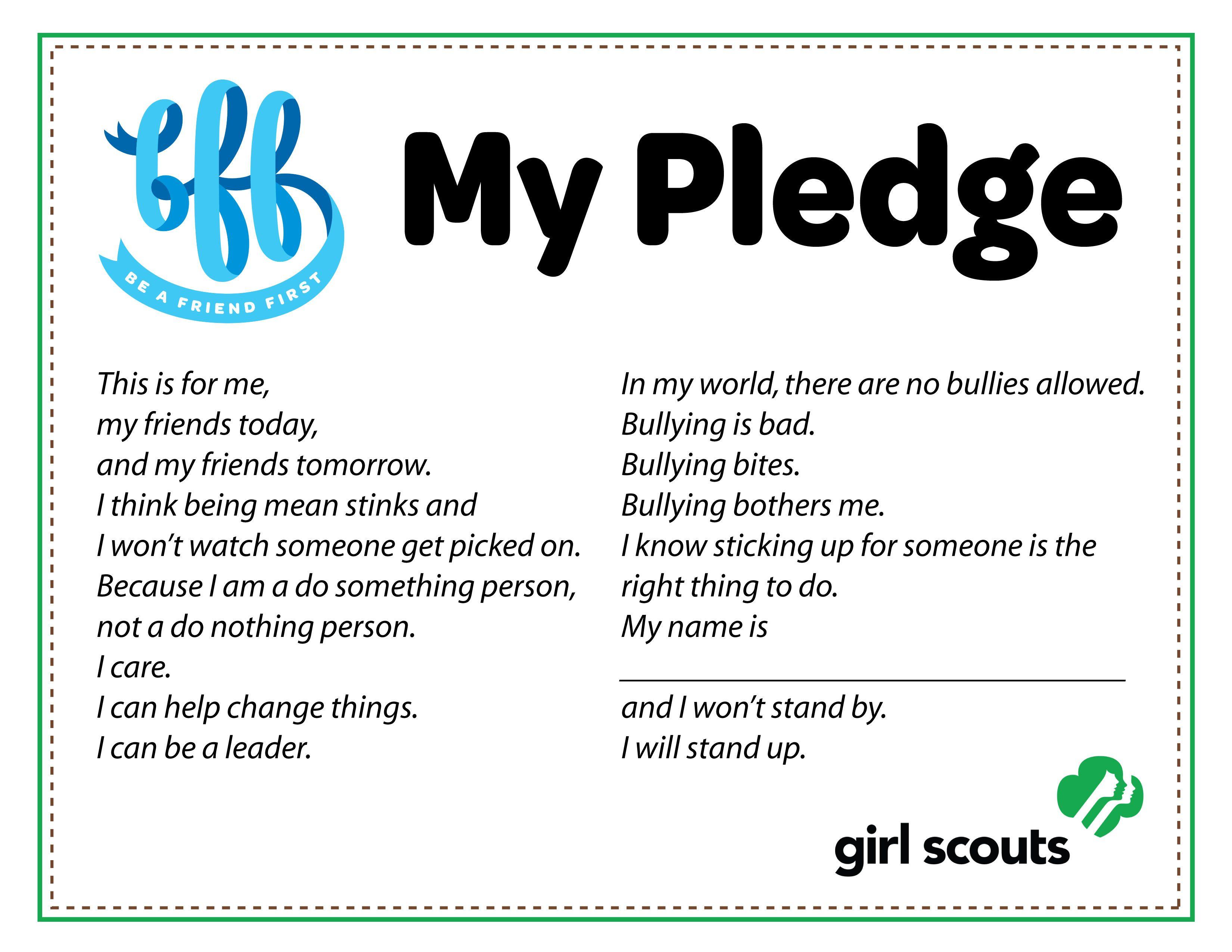 Free Girl Scout Anti Bullying Pledge Bff Be A Friend