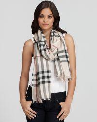 Burberry Giant Check Wool/Silk Gauze Scarf | Bloomingdale ...