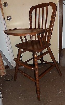 diy painted windsor chairs lounge home depot vtg jenny lind med cherry wood baby highchair high chair sears | chairs, woods and antique ...