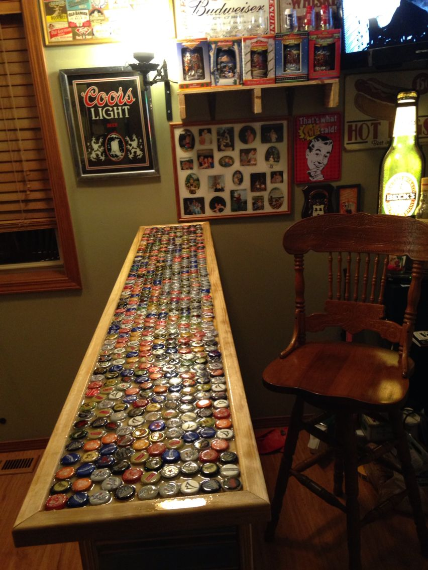 Beer bottle cap bar top  Bar  Pinterest  Beer bottle
