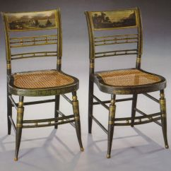 Fancy Folding Dining Chairs Ethan Allen Chair Covers American Federal Paint Decorated Side