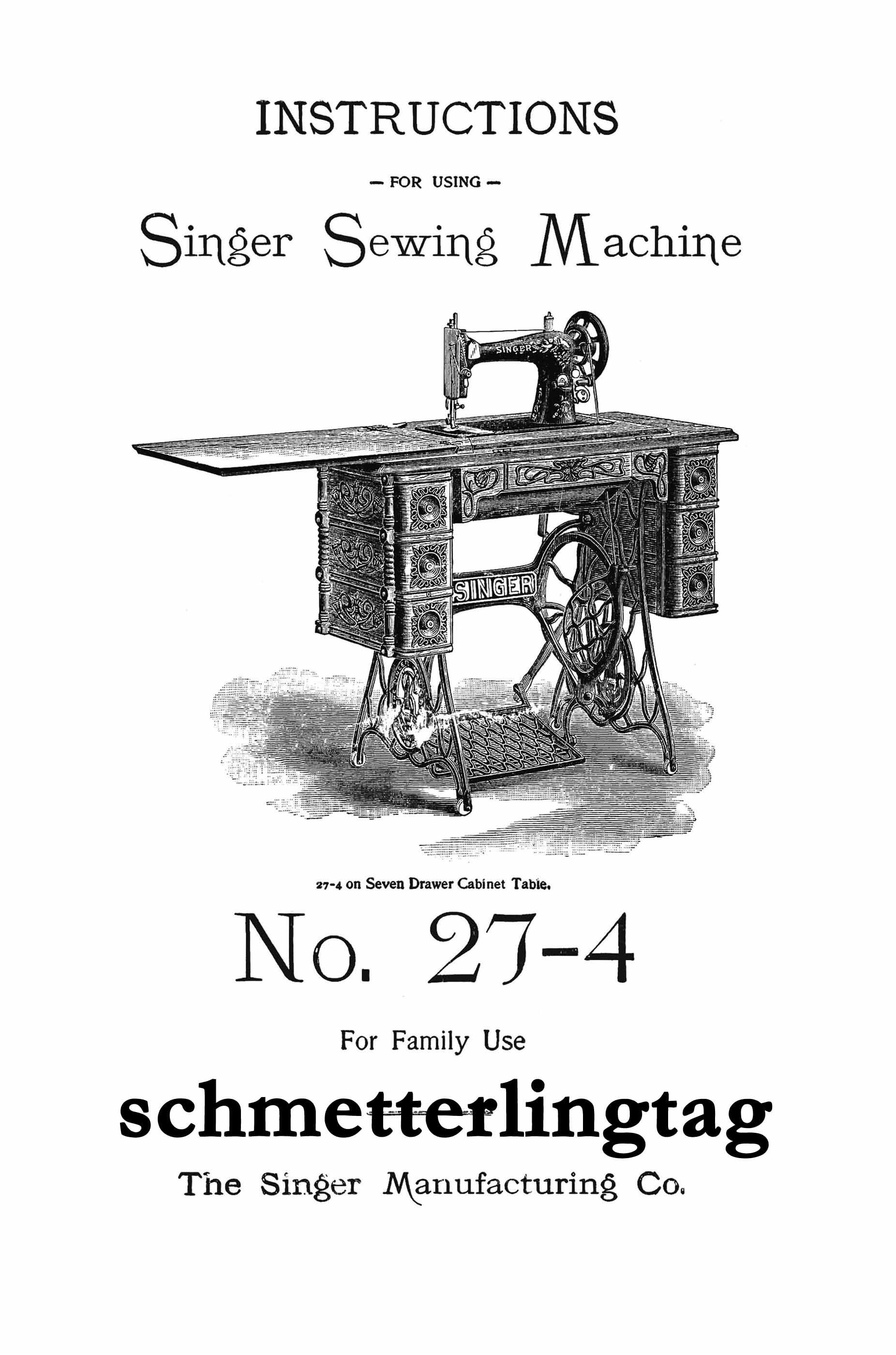 Buy Singer Antique Sewing Machine Manual 27-4 Book 1906 at