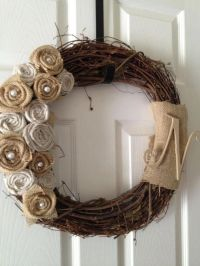 Shabby Chic Burlap and Linen Rosette Wreath by ...