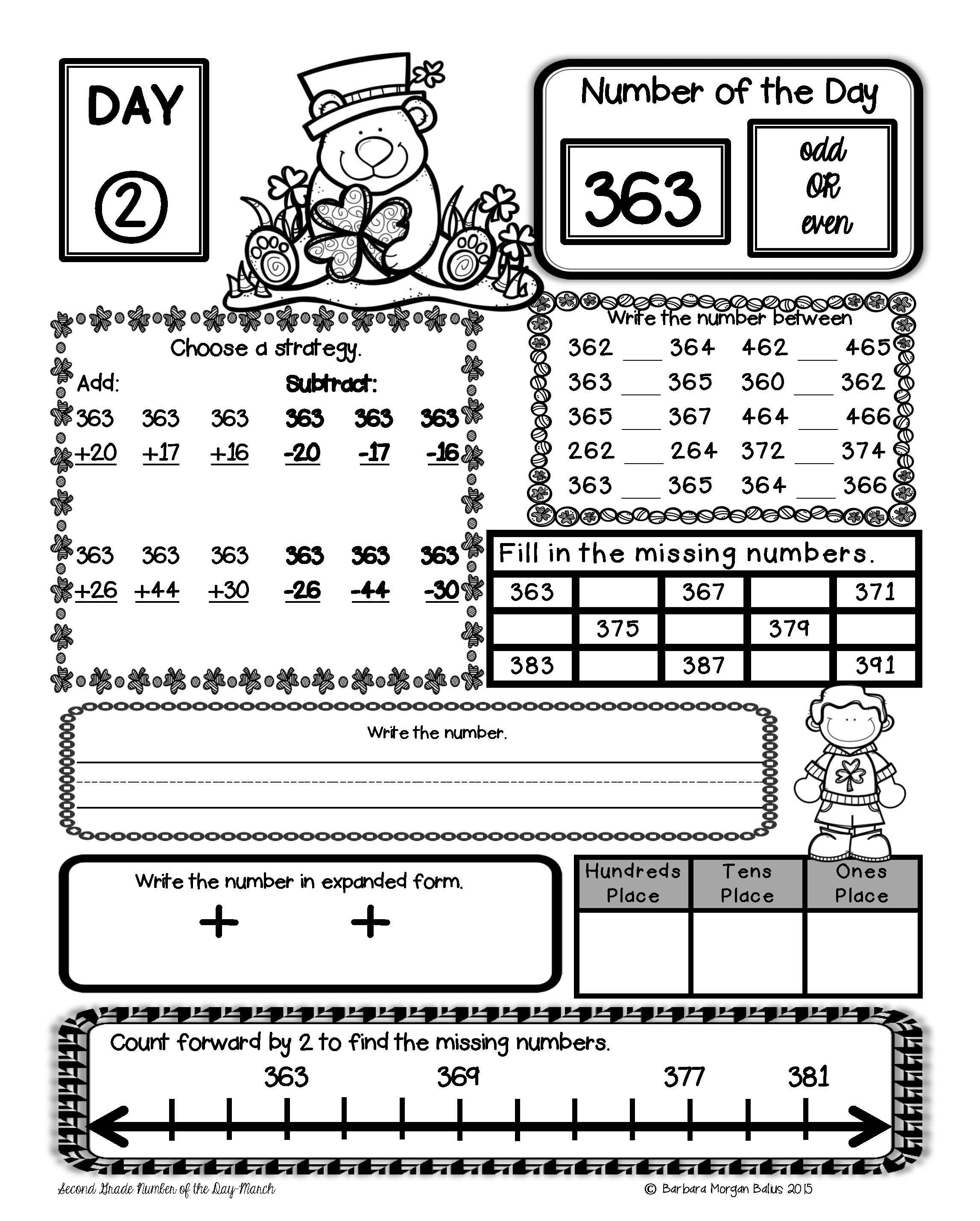 Freebie How Do You Review Number Sense In Second Grade Number Of The Day Freebie