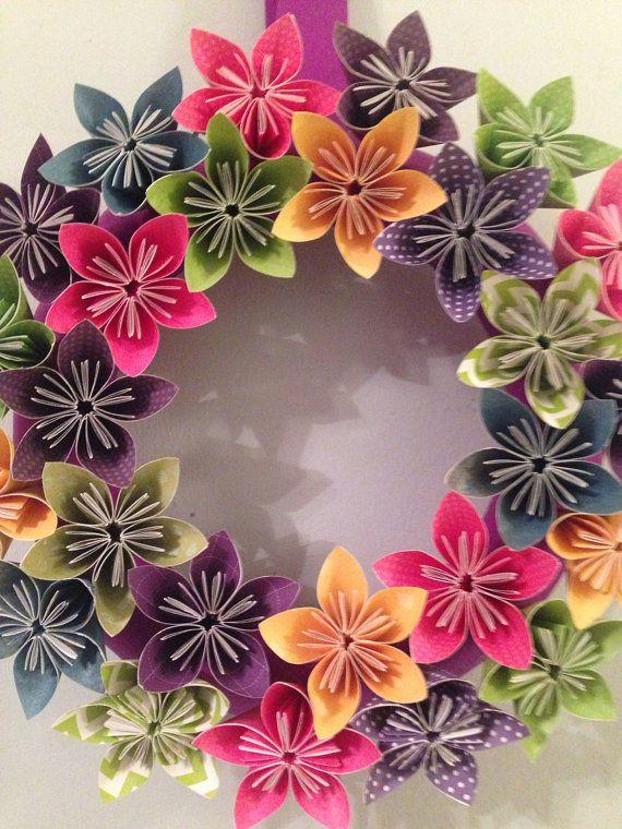 Mrchen Origami Papier Blumen Kranz  Hochzeit von