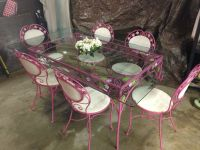 Vtg Mid Century Wrought Iron Dining Patio Set Table 6 ...