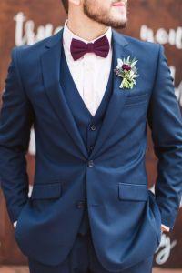 Groom in Navy Blue Suit with burgundy bow tie | Burgundy ...