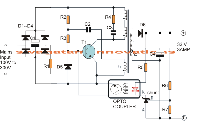 5 watt led driver circuit diagram wiring for solar power system 32v, 3 amp smps which may be particularly utilized driving 100 modules ...