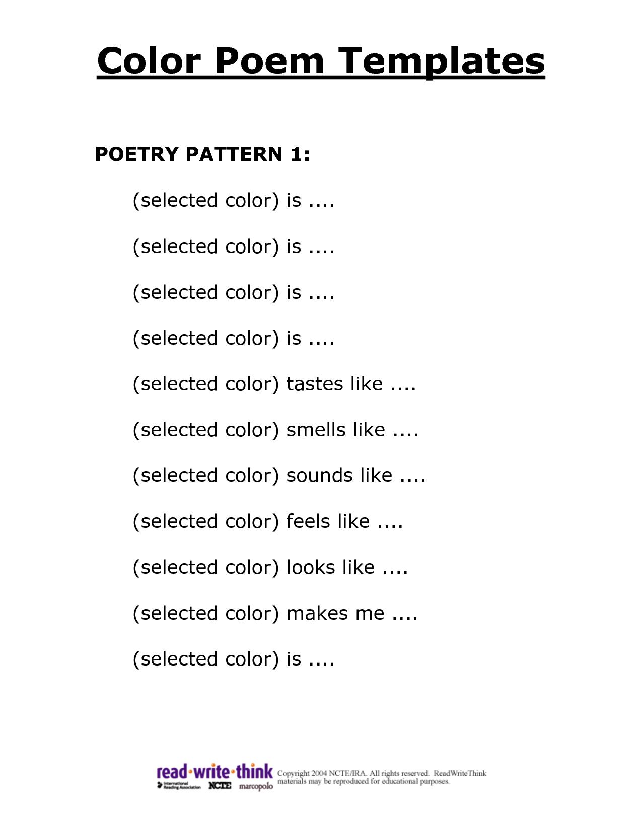Poem Template N0tzb5hr