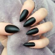 doobys stiletto nails black matte