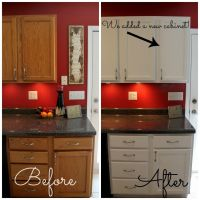 How To Paint Cabinets | Dark countertops, Red kitchen and ...
