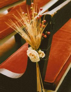 Our fall wedding church pew decoration also flowers pinterest rh