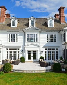 Rear elevation of  new white clapboard  ccolonial revival   by hilton vanderhorn architects in connecticut wonderful scale especially on the windows also douglas north country colonial beautiful rh pinterest