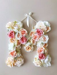 Wall decor vintage Flower Letters 18'' Floral by ...